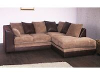 **7-DAY MONEY BACK GUARANTEE!** Benson BROWN AND BEIGE Double-padded Fabric Corner Sofa RRP£399