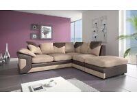 Special Offer - Brand New Jumbo Dino Left Hand Corner Sofas Set Fabric Scatter Back Brown