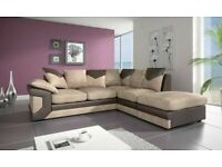 BEST FURNITURE- DINO JUMBO CORD FABRIC CORNER SOFA SUITE / 3 & 2 SEATER
