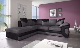 BRAND-NEW FABRIC CORNER SOFA - 3 AND 2 SEATER SOFA -AVAILABLE IN GREY AND BLACK