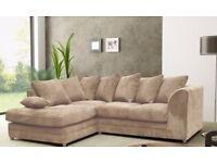 🔥💗Choc Brown, Mink Or Black💖🔥Brand New Italian Double Padded Dylan Jumbo Cord Corner or 3+2 Sofa
