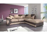 🚚🚛 JUMBO CORD MATERIAL 🚚🚛MARSYLIA Corner Sofa In Black & Grey or Brown & Beige or 2+3 Seater