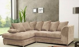 **BLACK GREY MINK AND BROWN** BRAND NEW DYLAN JUMBO CORD CORNER SOFA OR 3 AND 2 SEATER SOFA SET --