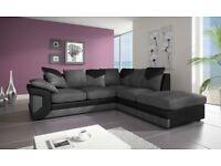 BLACK/GREY OR BROWN/BEIGE COLOURS -- Brand New jumbo cord Dino 3 + 2 seater or corner sofa set