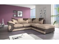 **DISCOUNTED PRICE** Dino 3+2 JUMBO CORD Corner Sofa Suite - Black and Grey OR Brown and Beige
