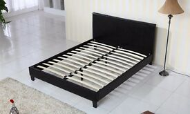 Quality Black Faux Leather 4ft6 Double bed frame, brand new in box, Free delivery