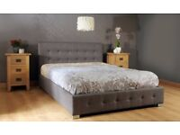 New luxury grey linen King Bed Frame