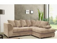 Black-Grey-Brown-Beige - Brand New Dylan Jumbo Cord Corner Sofa Set _ also in 3 and 2 seater sofa