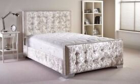 ❋★❋ CHESTERFIELD CRUSHED VELVET BED FRAME ❋★❋ SILVER,BLACK & CREAM COLOR WITH SAME DAY DELIVERY
