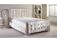 【FREE & FAST DELIVERY】DOUBLE CHESTERFIELD STYLE DESIGNER BED FRAME CRUSHED VELVET SALE !!!