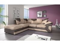 Brand New --- Dino Fabric and Leather 3+2 Sofas or Corners in Black & Grey or Brown and Beige