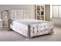 CREAM DOUBLE OR KING SIZE CHESTERFIELD BED WITH SINGLE ORTHOPAEDIC MATTRESS - AVAILABLE IN COLORS