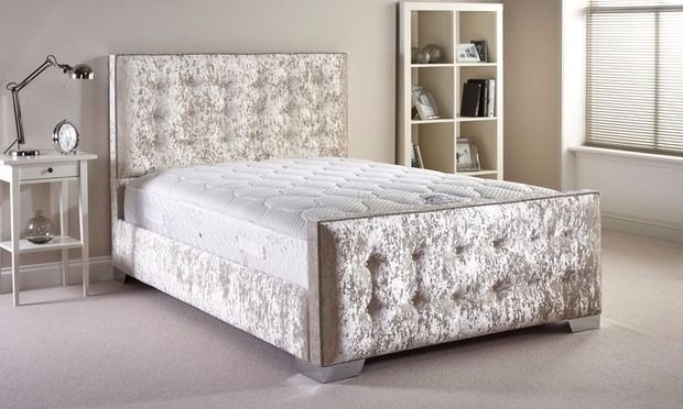 🛑**BLACK SILVER & CREAM COLORS**🛑 Brand New Double and King Sizes Crushed Velvet Chesterfield Bed