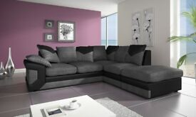 SAME DAY CASH ON DELIVERY-- NEW DINO JUMBO CORD CORNER OR 3 AND 2 SEATER SOFA--BLACK/GREY OR BROW
