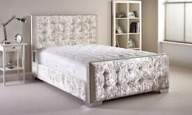 BRAND NEW CHESTERFIELD CRUSHED VELVET BED FRAME SILVER, BLACK AND CREAM COLORS