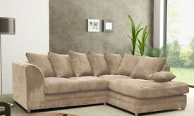 AMAZING OFFER BLACK CREAM BROWN OR BEIGE NEW DYLAN JUMBO CORD CORNER OR 3 AND 2 SOFA FAST DELIVERY