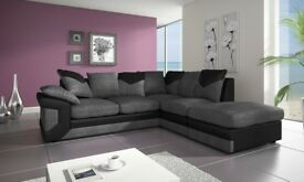 💞SAME DAY QUICK DROP💕💞 New Jumbo Cord Dino Corner / 3 + 2 Seater Sofa -BLACK GREY OR BROWN BEIGE-