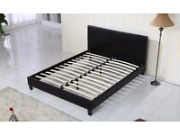 Brand new 5ft king size bed frame in black faux leather, Free delivery