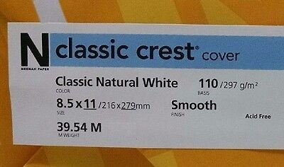 Neenah Classic Crest Natural White Card Stock 110 lb cover / 50 pack