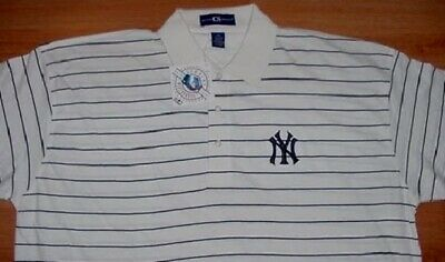 New York Yankees Polo Shirt 3XL White Striped Embroidered Sharp Navy NY Logo -