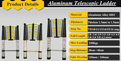 5/3.8/2.6m Heavy Duty Multi-Purpose Aluminum Telescopic Ladder Extendable Steps