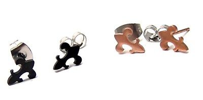Fleur De Lis Stud Earrings Rose Gold PVD or Black Hypoallergenic Surgical Steel