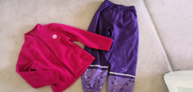 Girls winter warm snow trousers and fleece size 6-7 years.