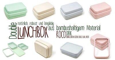Lunch-box-dose (Brotdose Brotbox Bento Lunchbox Dose Bambus QUADRO - BIO ECO Verschiedene Farben)