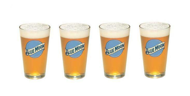 BLUE MOON 4 PUB STYLE BEER PINT GLASSES NEW