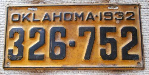 1932 OKLAHOMA LICENSE PLATE TAG