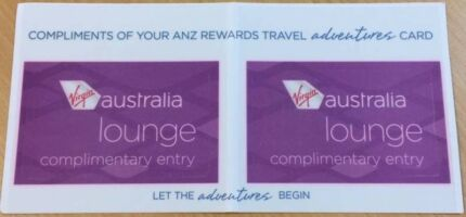FOR SALE 2 x Virgin Australia Lounge Pass ONLY $90