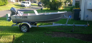 Great condition 3.1m Savage Tinnie, 15hp outboard and trailer.