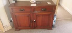 Antique dark wood side board/cupboard.