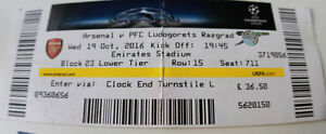 Ticket for collectors CL Arsenal FC - Ludogorets Razgrad 2016 England Bulgaria - <span itemprop='availableAtOrFrom'>Internet, Polska</span> - Ticket for collectors CL Arsenal FC - Ludogorets Razgrad 2016 England Bulgaria - Internet, Polska