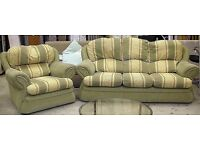Green and yellow fabric sofa and chair suite