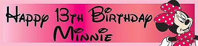 2 personalised Disney Minnie Mouse banners Birthday party christening name age (Christening Party Banners)