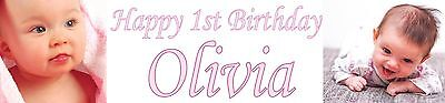 2x Personalised Photo banners all Occasions Christening birthday party name age (Christening Party Banners)