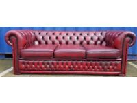 Three Seater Chesterfield Sofa, REF: 9, Red