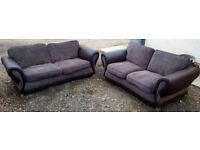 3 and 2 Seater Sofas Grey/Brown. Local delivery available