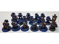 Warhammer 40,000 Ultramarine Tactical and Sternguard squads with Captain. Well Painted.