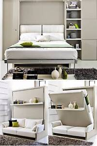 Amazing Nuovoliola 10 Queen Wall Bed in White w/ slate fabric Little Bay Eastern Suburbs Preview