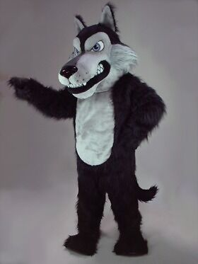 Scary Wolf Mascot Costume (Black) (Scary Mascot Costumes)