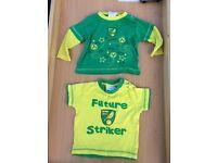2x 3-6 months Norwich City football shirt
