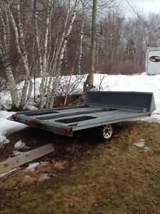 double wide tilt snowmobile trailer with snow shield
