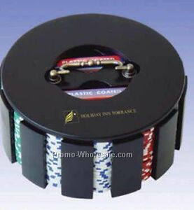 Poker Chips in Revolving Case
