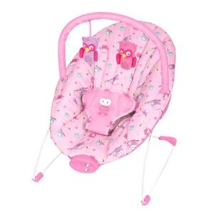 Pink owl bouncy chair vibrates and plays music