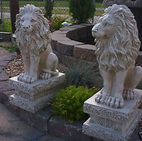 Lion Left or Right on base Large Cement Statue