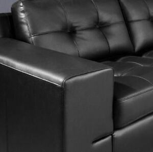 Black Bonded Leather Sectional Sofa London Ontario image 2