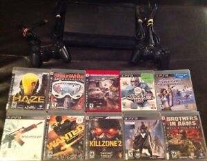 500GB Playstation 3 With 2 Controllers and 10 Games