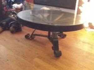 Antique rustic wagon wheel table - $400